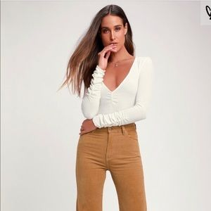 Free People Cozy Up with Me ribbed ivory Bodysuit